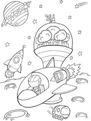 Poster Cartoon draw Outer Space Spaceship Vector Illustration Art