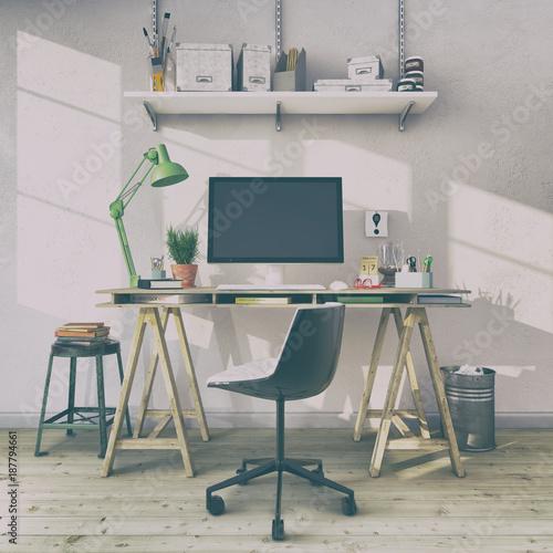 Skandinavisches nordisches arbeitszimmer mit einem for Schreibtisch vintage look