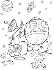 Foto auf Acrylglas Cartoon draw Outer Space Buggy Rover Vector Illustration Art