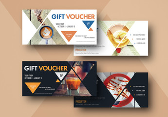 2 Gift Voucher Layouts with Coffee Elements