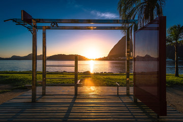 Outdoor Fitness Station in Flamengo in Rio de Janeiro by Sunrise With the Sugarloaf Mountain in the Horizon