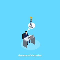 a man in a business suit sitting at his desk thinking of big wins, an isometric image