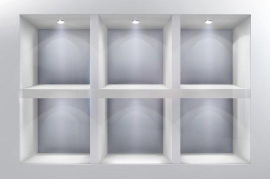 The shelves in shop window. Vector illustration.