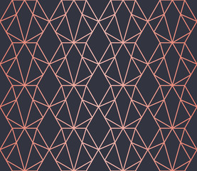 Luxury geometric pattern. Seamless Vector Lines. Trendy Copper Look.