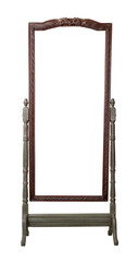 Vintage wooden ornate rectangular cheval standing dressing mirror painted in dark green and brown colors isolated on white background including clipping path