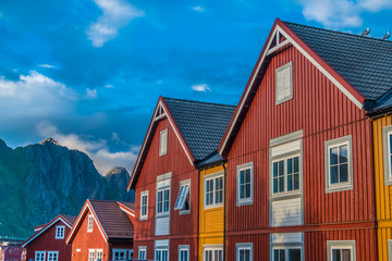 Old town of Svolvaer, Lofoten Islands, Nordland, Norway. Located north of the Arctic Circle. Natural beauty, distinctive scenery, dramatic mountains and peaks, fjords and picturesque villages.
