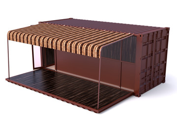 Container shop 3d rendering