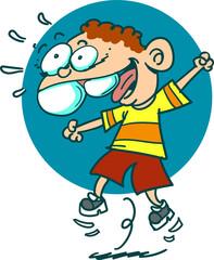 happy kid jumping cartoon style vector illustration