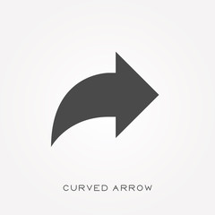 Silhouette icon curved arrow