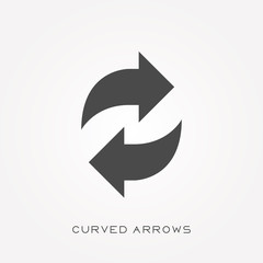 Silhouette icon curved arrows