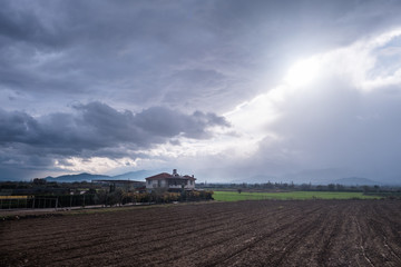 Farmland under Cloudy Sky