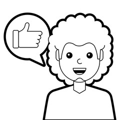 man with hand like in speech bubble vector illustration line design