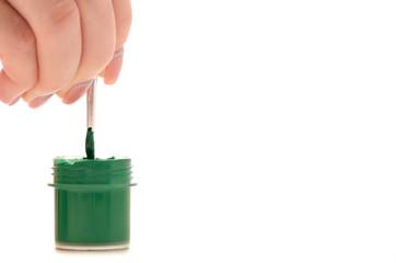Paint gouache in hand brush