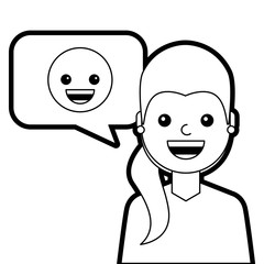 young woman with smile emoticon in speech bubble vector illustration line design