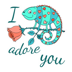 A colorful chameleon with hearts on the skin sits on a rose. Car