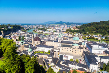 Cityscape with of Historic Salzburg City from Castle