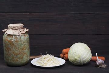 sauerkraut and fresh vegetables