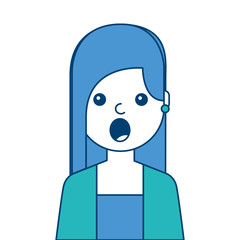 portrait surprised young woman face expression cartoon vector illustration blue and green design