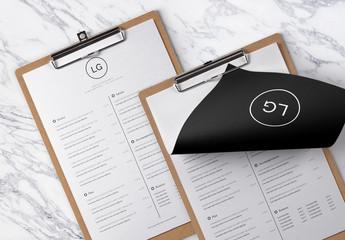 Mise en page minimaliste du menu