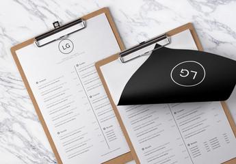 Layout menu minimalista