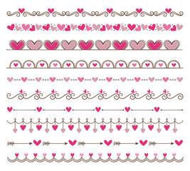 Collection of cute hand drawn vintage borders. Valentine's day special pack design elements. Perfect for Valentine's day invitation cards and page decoration. Vector illustration.