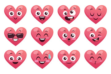 Collection of funny heart emoticons isolated on white background. Cartoon style. EPS 10 Vector illustration. Set 1 of 2.