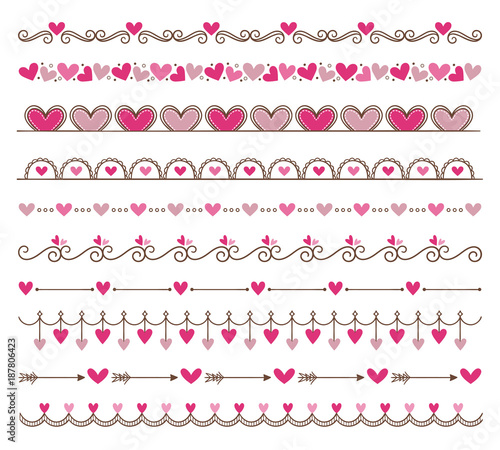 Collection of cute hand drawn vintage borders valentines day collection of cute hand drawn vintage borders valentines day special pack design elements perfect stopboris Choice Image