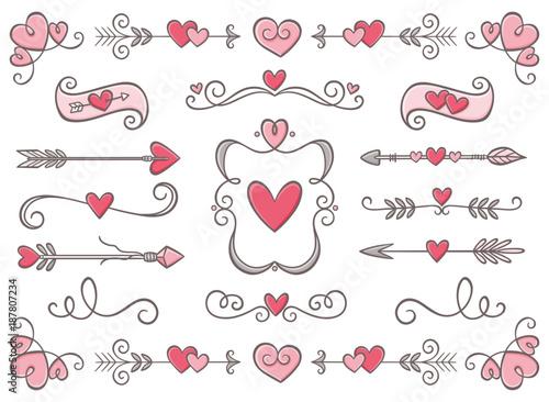 Collection of hand drawn vintage swirl ornaments full of hearts collection of hand drawn vintage swirl ornaments full of hearts valentines day special pack design stopboris Choice Image