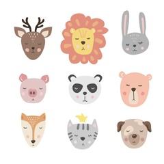 Vector set with cute animal. Bunny, bear, lion, pig, deer, Fox, cat, Panda and dog.