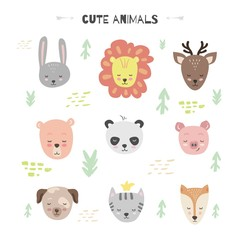 Vector set with cute animal. Bunny, bear, lion, pig, deer, Fox, cat, Panda and dog.