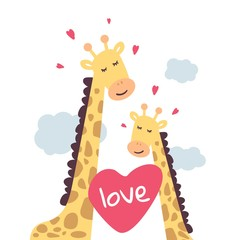 IGiraffes in the clouds. Cute and touching love giraffes. Vector illustration for Valentine's day, poster, postcard, and other.