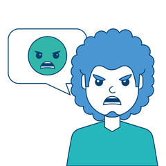 man with angry emoticon in speech bubble vector illustration blue and green design
