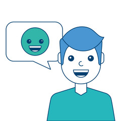 man with smile emoticon in speech bubble vector illustration blue and green design