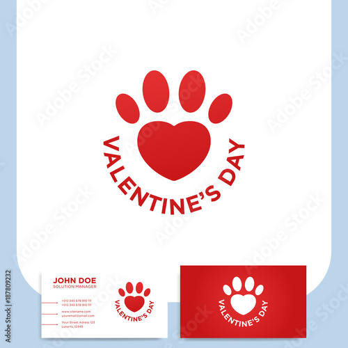 Valentines day red heart shaped paw print with text and business valentines day red heart shaped paw print with text and business card colourmoves