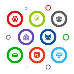 Set Of 8 Mammal Icons Set.Collection Of Cat, Birdcage, Bird And Other Elements.
