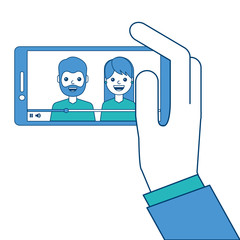hand holding phone mobile with people video player vector illustration blue and green design