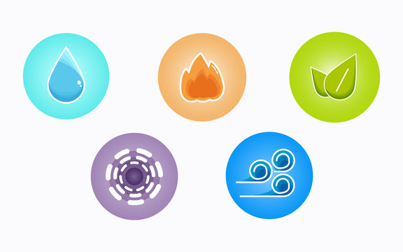 Ayurvedic elements water, fire, air, earth and ether icons isolated on white background. Colorful icons, five elements