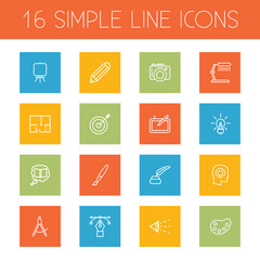 Set Of 16 Creative Outline Icons Set.Collection Of Table Lamp, Target, Bezier Curve And Other Elements.