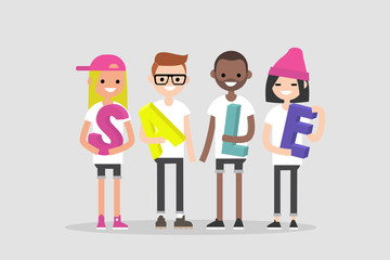 Sale, conceptual 3D sign. Young millennial characters holding colorful letters. Seasonal discounts. Flat editable vector illustration, clip art