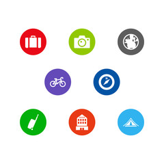 Set Of 8 Relax Icons Set.Collection Of Booth, Suitcase, Photo Apparatus And Other Elements.