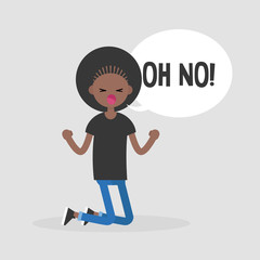 "Young kneeling character yelling ""oh no"". Failure, conceptual illustration. Flat editable vector illustration, clip art"