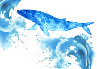 Big Blue Whale and water wave.Watercolor hand drawn illustration.Underwater animal art.