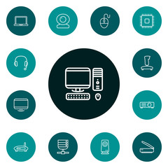 Set Of 13 Notebook Outline Icons Set.Collection Of Monitor, Server, Speaker And Other Elements.