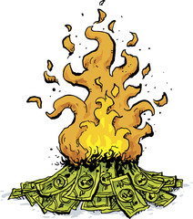 A cartoon of a pile of cash money burning in a huge fire.