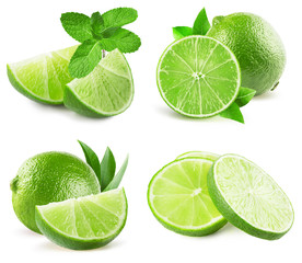 collection of limes isolated on a white background