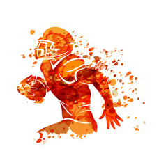Vector watercolor silhouette american football player