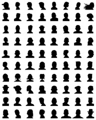 Black silhouettes of different avatars on a white background