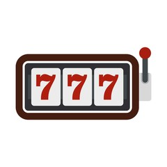 Slot machine with three sevens icon, flat style