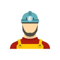 Male miner icon, flat style