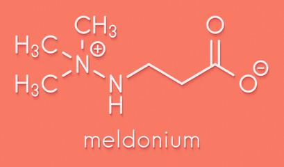 Meldonium anti-ischemic drug molecule. Used in treatment of angina and myocardial infarction. Skeletal formula.